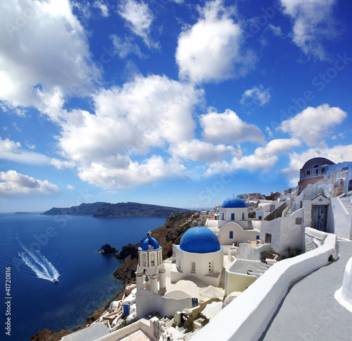 Santorini panorama with village and sea-view
