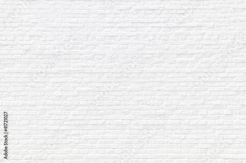 Leinwandbild Motiv Weiß gekalkte Ziegelsteinmauer