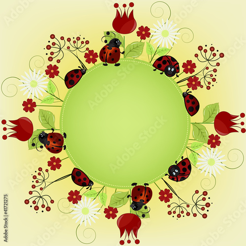Card sample with ladybugs and a flowers