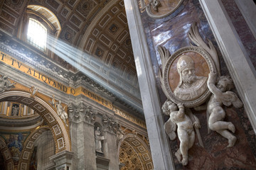 Special sunbeams shining in Saint Peters Cathedral. Rome