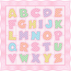 Alphabet Baby Quilt, pastel polka dots gingham pink satin border
