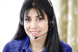 People at work telephone operator with headset