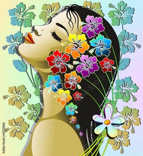 Zdjęcia na płótnie, fototapety na wymiar, obrazy na ścianę : Donna Esotica Sensuale-Sensual Exotic Hibiscus Girl-Vector