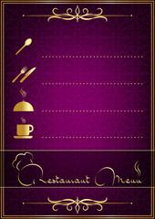 Purple bitkisel işlemeli yemek menüsü