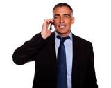Executive broker speaking on mobile poster