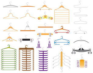 Collection of isolated clothes hangers on a white background.