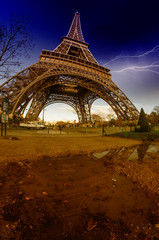 Storm and Lightnings above Eiffel Tower