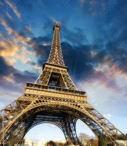 Beautiful photo of the Eiffel tower in Paris with gorgeous sky c