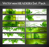 Fototapety abstract eco set of vector Headers