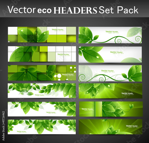 abstract eco set of vector Headers