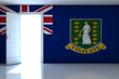 British Virgin Islands flag on empty room