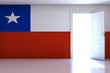 Chile flag on empty room