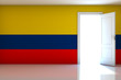 Colombia flag on empty room