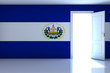 El Salvador flag on empty room