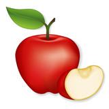 Apple, apple slice illustration, isolated on white.