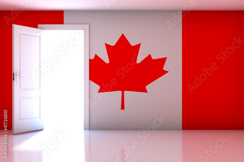 Canada flag on empty room