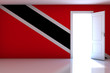 Trinidad And Tobago flag on empty room