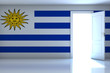 Uruguay flag on empty room