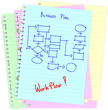 Business concept drawing on notepad illustration