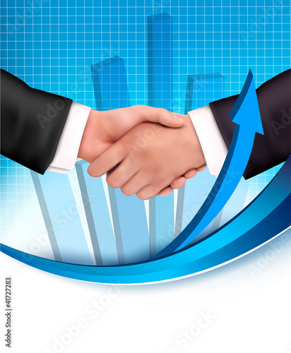 Handshake with a graph in the background. Vector