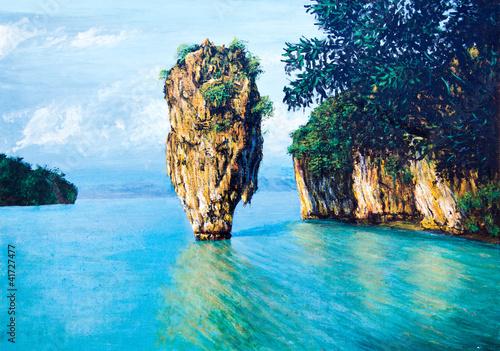 mala-wyspa-na-morzu-przez-malarstwo-olejne