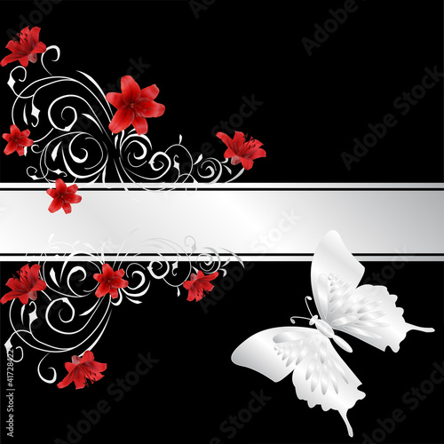 red lily  and silver butterfly
