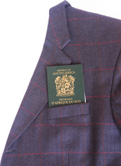 Blazer with passport on white