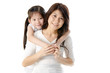 Asian mother and her daughter on white background, perfect for m