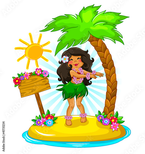 girl dancing hula on a tropical island