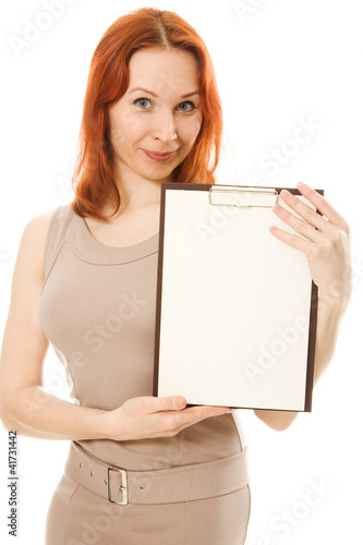 Happy  woman showing blank signboard