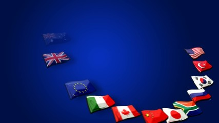 G20 flags Group of Twenty major economies animation video