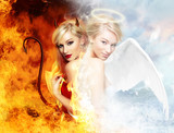 Fototapety Sexy devil vs gorgeous angel