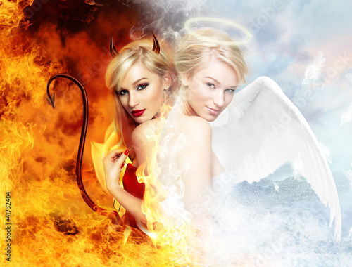 canvas print picture Sexy devil vs gorgeous angel