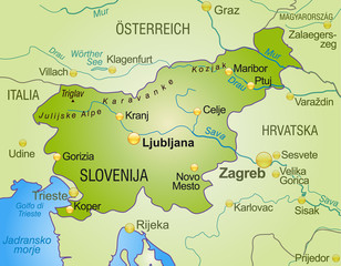 map of slovenia with neighboring countries as an overview
