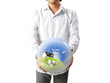 holding a glowing earth globe in his hands image ,provided by NA