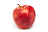 one red apple on white background
