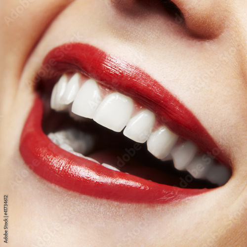 Poster Woman smile. Teeth whitening. Dental care.