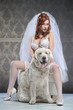 Red beautiful luxury woman in underwear with white dog