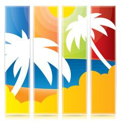 Trendy tropical vertical banner set