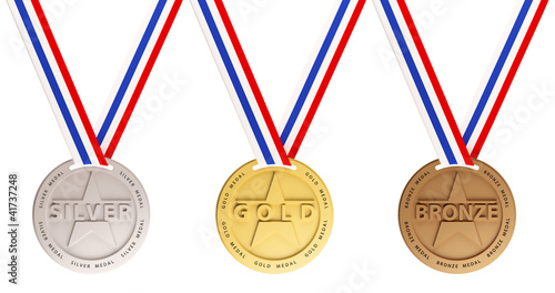 canvas print picture Gold, Silver and Bronze medals