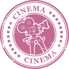 Stamp with movie camera shape and the word cinema inside