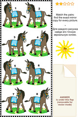 Match mirrored images picture riddle - donkeys