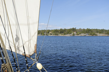 View from brig sailing in the Stockholm archipelago