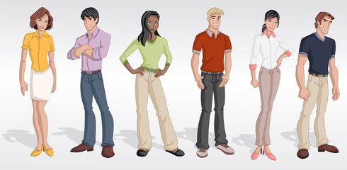 Group cartoon business people. Teenagers.