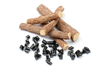 liquorice roots with candy