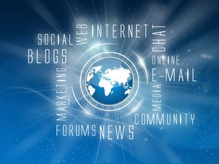 Background Internet Services, Social, Blue