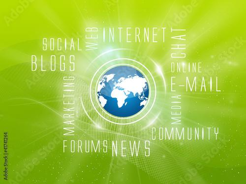 Background Internet Services, Social, Green-Blue
