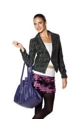 beautiful woman in purple skirt and green tweed jacket