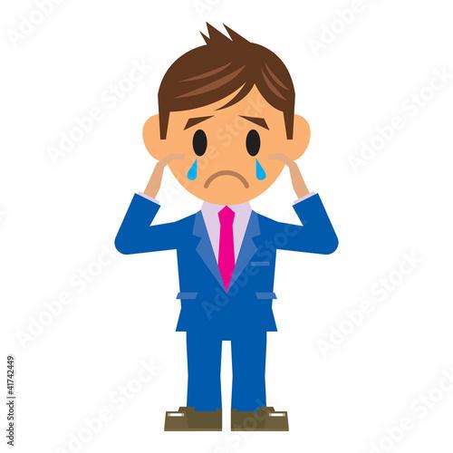ビジネスマン イラスト 泣く
