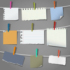Various notes and a clothes pegs